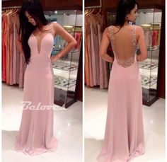 "Fabric:Chiffon Neckline:+V+Neck Color:Pink+ Silhouettes:+A+Line++ Back+Detail:Sheer+Back Occasion:+Prom+,Evening,Cocktail++++++ Custom+Made+:+We+also+accept+custom+made+size+and+color+.+Please+click+the+""contact+us+""and+send+your+size+and+color+to+our+email+.+Or+just+leave+a+message+to+us+w..."