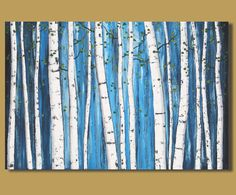 FREE SHIPPING abstract painting of white birch, tree painting, landscape painting, birch tree art, contemporary art (24x36)