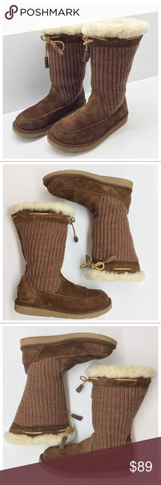 "Ugg Suburb Crochet Boot ✅Questions, offers thru offer button 🚫Trades, holds, $$ talk in comments Ugg Crochet  - Suede and crochet outside  - Fabric lining in shaft, cozy sheepskin surrounds your foot  - Tassel tie, rubber sole  - Size 8, measures 11"" along bottom, 4.5"" wide across widest part  - 11"" shaft, 16"" calf circ.  - Pre-loved, used but not abused, small flaw on sole of right boot (pic 6) Please ask ?s if unsure of anything, esp. condition! UGG Shoes Winter & Rain Boots"