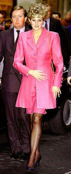 November 14, 1992: HRH Diana, Princess of Wales with Ken Wharfe visiting the Cite de la Musique at La Villette in Paris during her 3 day visit to France.