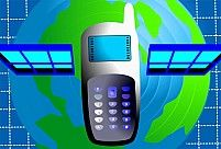Illustration of a mobile phone in the background of a globe