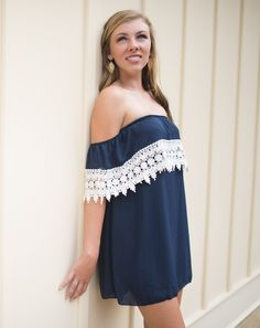 I love this off the shoulder lace dress. This would look adorable with boots for the fall!