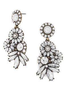 Ace evening style with these elegant teardrop shoulder-dusters--a bevy of sparkling gemstones adds classic drama.