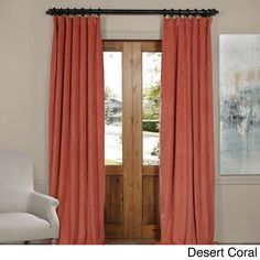 Exclusive Fabrics Signature Velvet Blackout Curtain Panel (Desert Coral - 108L), Orange, Size 108 Inches