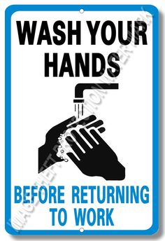 "Wash Your Hands Restaurant Food Service Security Sign Aluminum Brand New 8""x12"" #YNGWYH1 #Restaurant"
