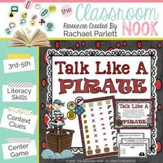 """Talk Like a Pirate"" (Context Clues Game) - Classroom Freebies Second Grade Writing, 4th Grade Reading, Literacy Games, Literacy Skills, Context Clues Games, Pirate Words, Reading Themes, Reading Stories, Reading Centers"