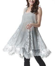 Another great find on #zulily! Gray Lace Sidetail Tunic - Plus #zulilyfinds