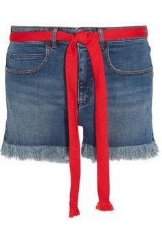 Sonia Rykiel - Grosgrain-trimmed Embroidered Frayed Denim Shorts - Blue - FR34