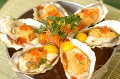 Nama Kaki  is a half dozen of fresh oysters on half shelves from Blue Fin Sushi in San Francisco, CA