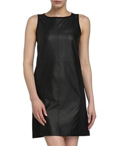 Neiman Marcus Leather Sleeveless Dress