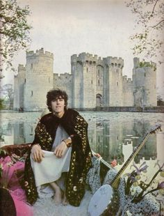 Sixties   Donovan, with Bodiam Castle, East Sussex, in the background, 1967