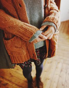 rust red, cable knit, floral dress