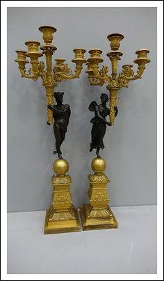 Coppia candelieri bronzo dorato al mercurio  1259014