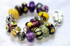 Purple and yellow...another great combination for a Trollbeads bracelet!