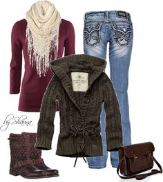 A fashion look from December 2012 featuring purple jersey, low rise bootcut jeans and stacked heel shoes. Browse and shop related looks. Sweater Boots, Jeans And Boots, Brown Sweater, Women's Jeans, Skinny Jeans, Pullover, Fashion Outfits, Womens Fashion, Fashion Sets