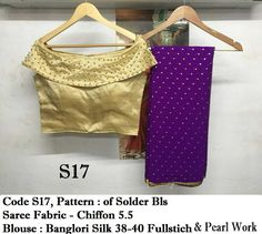Beautiful golden designer chiffon sarees with pearls work blouse full sttiched upto 4xl pearls nit removable - steel fitting all colors available mix and match