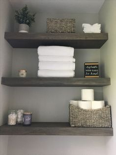 10 Agreeable Simple Ideas: Floating Shelves Under Mounted Tv Small Spaces floating shelves over tv small spaces.Rustic Floating Shelves Diy floating shelves bathroom above toilet. Shelf Decor Bedroom, Shelves, Interior, Bathroom Shelves Over Toilet, Trendy Bathroom, Bathroom Shelf Decor, Floating Shelves Bathroom, Downstairs Bathroom, Bathrooms Remodel