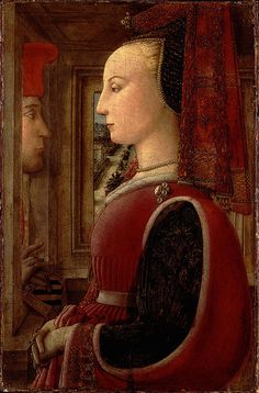 Portrait of a Woman with a Man at a Casement, c.1440–44, by Fra Filippo Lippi (Florentine, c.1406–1469)Tempera on wood.  View this large! It's amazing: dramatic and weird. Especially if you know as little as I do about painting.