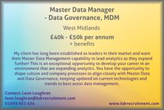 New Job: Master Data Manager - Data Governance, MDM needed in West Midlands. Contact Leon to find out more or apply online today!