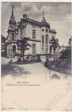 1900 - Palacete Lacerda Soares, esquina Praça da Repúplica com rua Marques de Itu. Projeto de Ramos de Azevedo de 1892. Foto de Guilherme Gaensly.