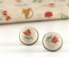 Stud Earrings - Red Tulips Earring Studs - From My Baltimore Album - Yellow and Green Flowers on Beige Fabric Buttons Jewelry on Etsy, $10.00