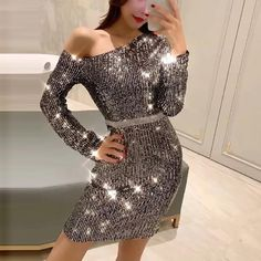 695b5ea7ee Fashion Sexy Off-Shoulder Sparkly Long Sleeve Bodycon Dresses   dressescasual  dresses  bodycondress