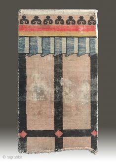 Background Color:Off-whites,lvory. It is the rare and early type of a Tibetan door rug. Certainly a collector's item. Door Rugs, Door Curtains, Tibetan Rugs, Off Colour, Kilim Rugs, Colorful Backgrounds, Devil, 19th Century, Age