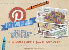 It's a #Pin2WinRewind Sweepstakes! Celebrate #60YearsofLakeshore when you re-pin our classroom favorites that have stood the test of time! 10 will win a $60 Lakeshore e-gift card! Enter here: www.lakeshorelearning.com/Pin2WinRewind