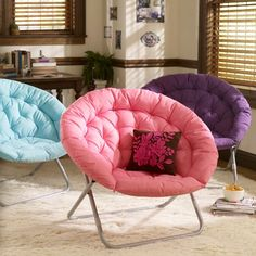 """Pink Solid Hang-A-Round Chair (love Chocolate/Pink Pillow to match a double chocolate chair) Overall: 37"""" wide x 30"""" deep x 31.5"""" high Seat: 17"""" wide x 18.5"""" deep x 11.5"""" high Backrest: 22"""" high"""