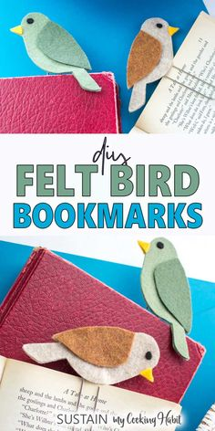 Mark your page with these easy to make DIY felt bird bookmarks. Great way to use… Mark your page with these easy to make DIY felt bird bookmarks. Great way to use up leftover felt from other felt crafts. Makes a great back-to-school craft idea! Felt Crafts Diy, Bird Crafts, Felt Diy, Nature Crafts, Diy Crafts For Kids, Fun Crafts, Easy Crafts To Make, Kids Diy, Decor Crafts
