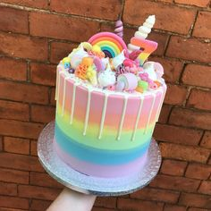 Three Bears Bakery on A super colourful rainbow and unicorn themed cake for a lu. Three Bears Bakery on A super colourful rainbow and unicorn themed cake for a lucky 7 year old litt Candy Birthday Cakes, Birthday Cake Girls, Candy Theme Cake, 7th Birthday, Easy Kids Birthday Cakes, Colorful Birthday Cake, Rainbow Birthday, Mini Cakes, Cupcake Cakes