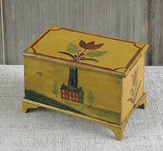 JONAS WEBER, LANCASTER COUNTY, PENNSYLVANIA, ca. 1840, painted pine dresser box, the lid decorated with a red tulip, the sides with tulips and the front with a red brick farm house flanked by trees on a yellow ground, with typical short bracket feet, retaining its original wire loop hinge and tin hasp