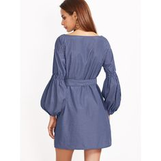 Blue Striped Lantern Sleeve Self Belt Dress ❤ liked on Polyvore featuring dresses, striped dress, dresses with belts, stripe dresses, blue dress with belt and blue stripe dress