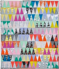 """Here are some wonderful FREE patterns for Triangle and Diamond quilts, also known as 1000 Pyramids. Use them to design your own """"pyramid sc. Triangle Quilt Tutorials, Triangle Quilt Pattern, Triangle Quilts, Isosceles Triangle, Strip Quilts, Patch Quilt, Scrappy Quilts, Quilt Patterns Free, Free Pattern"""