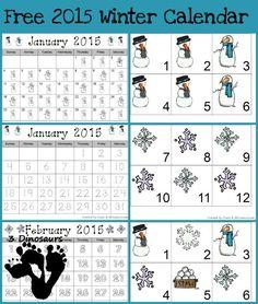 Free 2015 Winter Calendar Printable - Snowman & snowflake pattern cards and single page calendar sheet - 3Dinosuar.com