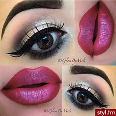 Dramatic eye and fuschia lips