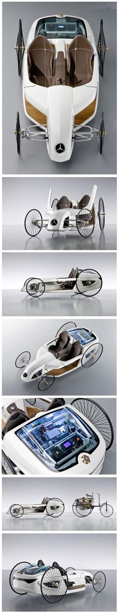 Mercedes-Benz F-CELL Roadster with Hybrid Drive :: Formula One meets the original Benz :: H. Wells, I'd like to introduce you to Marty McFly. Microcar, E Quad, Mercedes Benz, Mercedes Hybrid, Mercedes Concept, Carl Benz, Automobile, Marty Mcfly, Pedal Cars