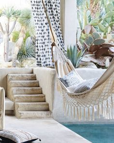 Backyard Hammock Ideas -Laying in a hammock is just one of the most relaxing things on the planet. Have a look at lazy-day backyard hammock ideas! Outdoor Rooms, Outdoor Living, Outdoor Decor, Outdoor Fun, Outdoor Areas, Interior Exterior, Exterior Design, Exterior Stairs, Interior Doors