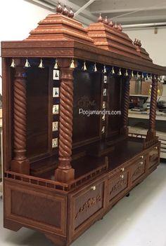 Pooja Mandirs USA - Dhanishta Collection - Open Models Modern Luxury Bedroom, Luxurious Bedrooms, Wardrobe Interior Design, Home Interior Design, Temple Room, Temple Design For Home, Mandir Design, Pooja Mandir, Pooja Room Door Design