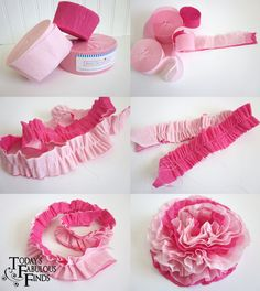 Crepe paper flowers with sewing machine http://todaysfabulousfinds.blogspot.com/2011/01/crepe-paper-flowers-and-girls-valentine.html