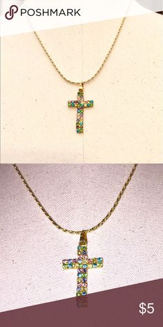 """Pastel Cross Pastel colored faux stones, approx 1.7""""-2"""" L x 1"""" W, order today with hopes of receiving by Saturday. NWOT Silaroy Jewelry Necklaces"""