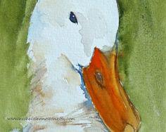 white duck watercolor
