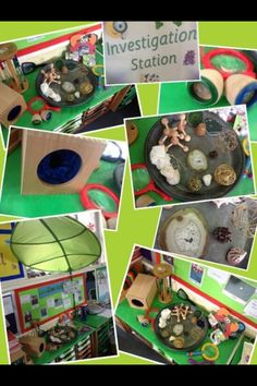 Investigation station- random objects to investigate Eyfs Classroom, Classroom Layout, Classroom Organisation, Preschool Themes, Preschool Science, Science Activities, Science Area, Primary Science, Discovery Area Eyfs
