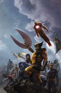 #Avengers #Fan #Art. (New Avengers Vol.1 #45 Cover) By: Aleksi Briclot. (THE * 5 * STÅR * ÅWARD * OF: * AW YEAH, IT'S MAJOR ÅWESOMENESS!!!™)[THANK U 4 PINNING!!!<·><]<©>ÅÅÅ+(OB4E)