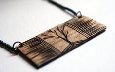 Wood Burned Tree Necklace Turquoise Glass by DecayAndRenewal