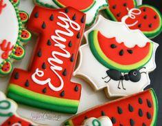 Orange cake and candied fruit - HQ Recipes Galletas Cookies, Iced Cookies, Royal Icing Cookies, Cupcake Cookies, Cookies Et Biscuits, Sweet Cookies, Watermelon Cookies, Watermelon Birthday Parties, Summer Cookies