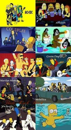 Cool bands on The Simpsons-Where are the Smashing Pumpkins? Rock Band Posters, Rock Poster, Music Humor, Music Memes, Rock Music Quotes, Rock And Roll, Simpsons Art, Band Memes, Classic Rock