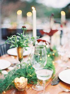 greenery wedding decor - photo by Erich McVey http://ruffledblog.com/modern-bohemian-wedding-in-big-sur