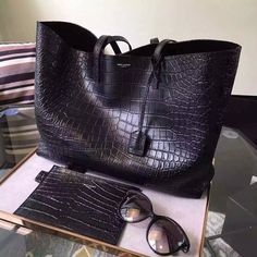 2016 New Saint Laurent Bag Cheap Sale-Saint Laurent Large Shopping Tote Bag in Black Crocodile Embossed Leather