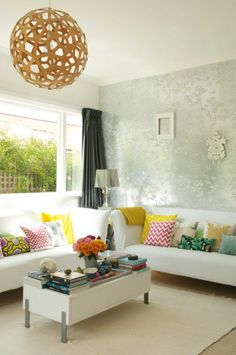 Beautiful living space with a David Trubridge Coral light in Wellington, NZ.